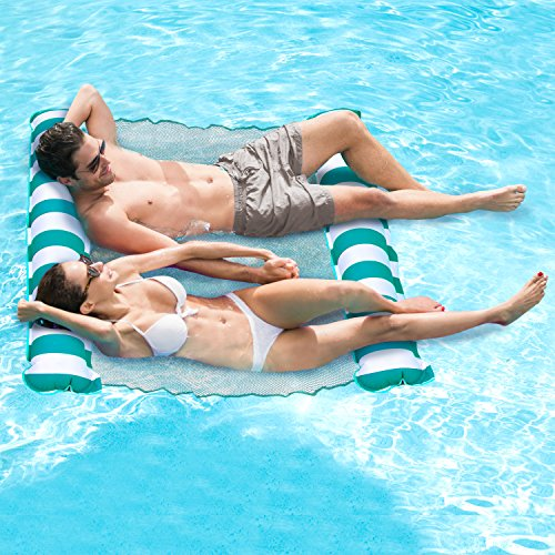 Person Inflatable Pool - Aqua AQL13837TL Catalina Inflatable Hammock 2 Person Pool Float Teal Water Lounge, Teal/White Stripe