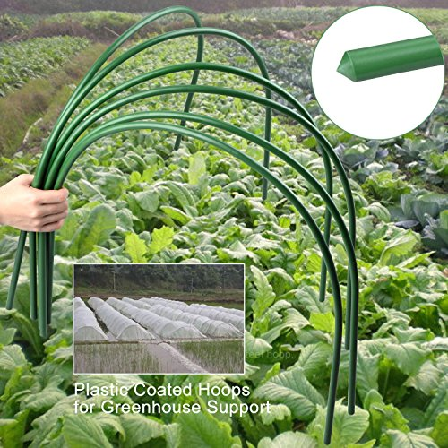 B&P Portable Garden Hoops Hoop Greenhouse Plant Hoops, Rust-Free Grow Tunnel 4ft Long Steel with Plastic Coated Hoops,Greenhouse Support Hoops for Garden Hoop,6Pack (Arch Size: 18.5'' H x 19.6'' W) by B&P (Image #3)