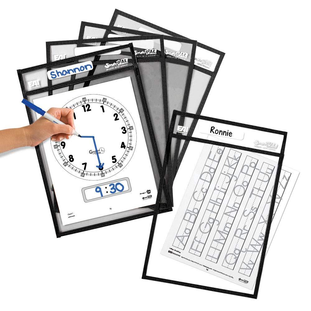 EAI Education SmartPAL Dry-Erase Sleeves: Black, 10 x 14 in - Set of 10 by EAI Education