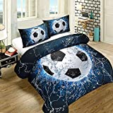 SHELEEPED Soccer Print 3D Duvet Cover Set for Teen-boy, 3 Pcs Decoration Bedding Set with 1 Duvet Cover and 2 Pillowcases,Full Size