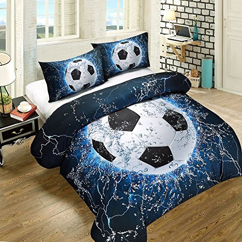 SHELEEPED Soccer Print 3D Duvet Cover Set for Teen-boy, 3 Pcs Decoration Bedding Set with 1 Duvet Cover and 2 Pillowcases,Full Size by SHELEEPED