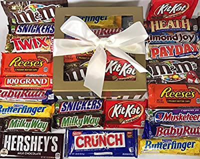 Candy Bar Bliss Gift Box Basket Prime for Chocolate Lovers Sweet Happy Birthday Wishes Christmas Thank You Office Business College Student Care Package Men Women Approx 3 Lbs 22 Count