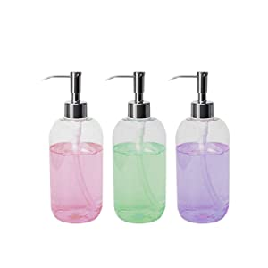 (3 Pack) 16 Ounce Soap Dispenser Bottles Clear Plastic Countertop Lotion-Soap Pump Bottles for Liquid Organic Soap Hand Dispensers Kitchen and Bathroom Soaps Shampoo and Lotions