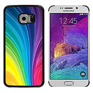 Be Good Phone Accessory // Dura Cáscara cubierta Protectora Caso Carcasa Funda de Protección para Samsung Galaxy S6 EDGE SM-G925 // Vertical Swirling Rainbow Colors Colorful