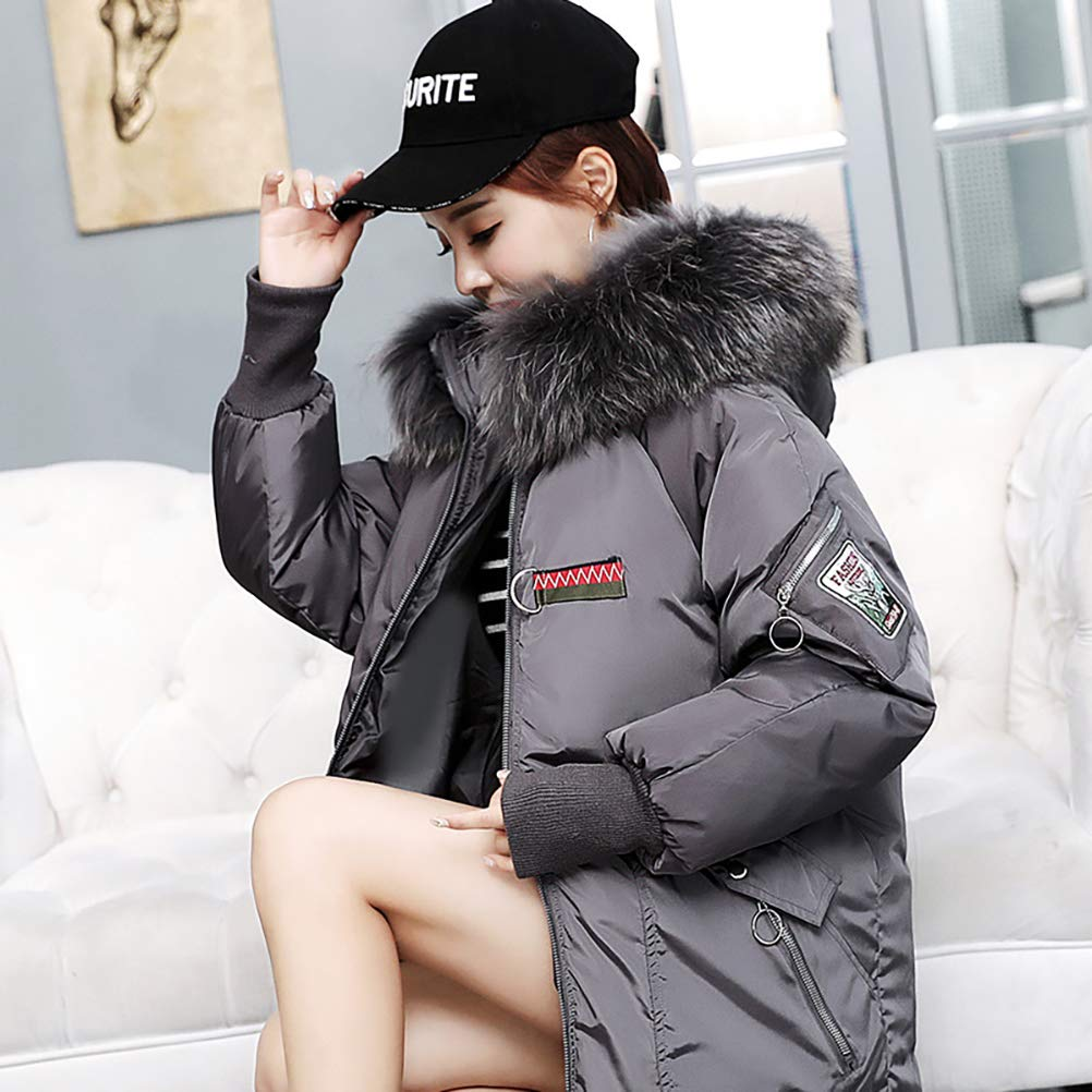 Womens Winter Loose Fur Collar Embroidery Down Coat Padded Jacket with Hood