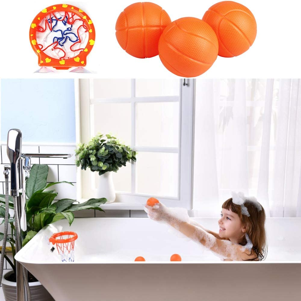 nuluxi Basketball Hoop with Ball for Bathtub Basketball Hoop with Suction Cup Bathtub Shooting Game Basketball Fun Bath Basketball Hoop with Ball for Bathtub Swimming Pool for Toddlers Boys and Girls