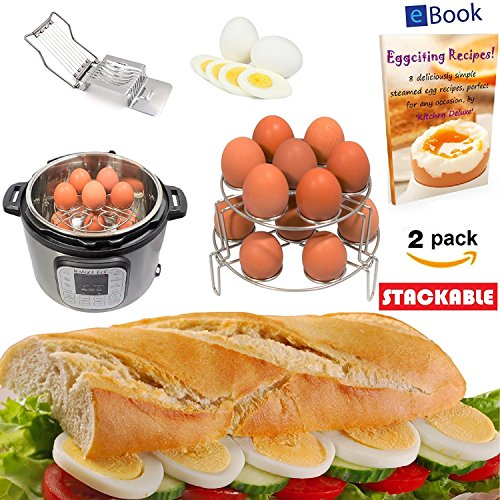 Instant Pot Egg Rack Steamer - 14 Eggs - STACKABLE 2-Tier - BEST Bundle - Fits 6 & 8 Quart Instapot Pressure Cooker - 100% Stainless Steel - BONUS Accessories - Slicer + eBook - Use as Trivet Insert