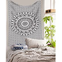 Handicrunch Black and White Tapestries Elephant Mandala Hippie Tapestry Indian Traditional Throw Beach Throw Wall Art College Dorm Bohemian Wall Hanging Boho Twin Bedspread