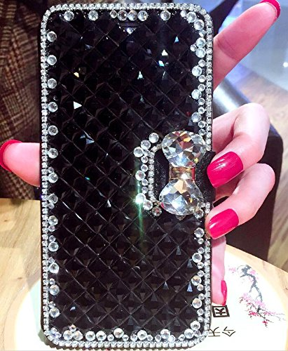 Sparkly iPhone 8 Wallet Phone Case Black Crystal Stones Sparkle iPhone 6/7/8 Wallet Leather Wallet Holder iPhone Pouch Case