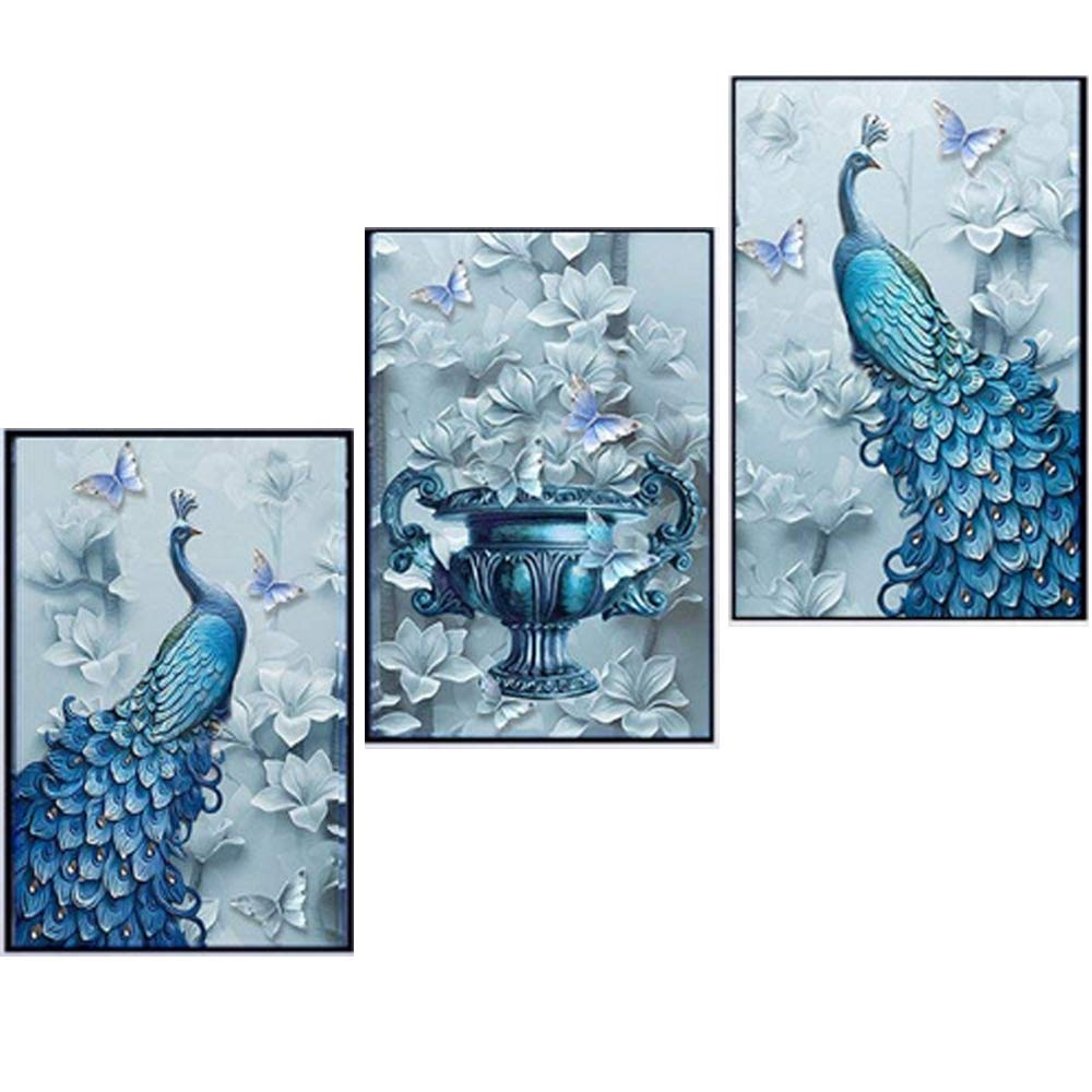 5D Full Diamond Painting Tree peacock Flowers Cross Stitch Kits Crystal Embroidery Mosaic Diy Canvas Wall Art Decorative Paintings for Kids Girls Women Adults ( 90*50 cm) changkai