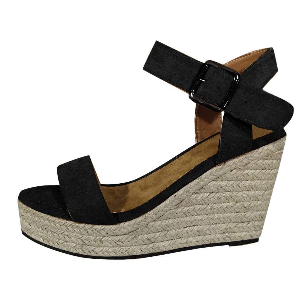 Bohelly ✌✌ Womens Ankle Strap Platform Wedges Sandals Casual Open Toe Espadrilles Sandals Scallop Edged Single Band Espadrilles