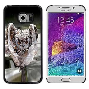 TopCaseStore / la caja del caucho duro de la cubierta de protección de la piel - Evil Attack Owl - Samsung Galaxy S6 EDGE SM-G925