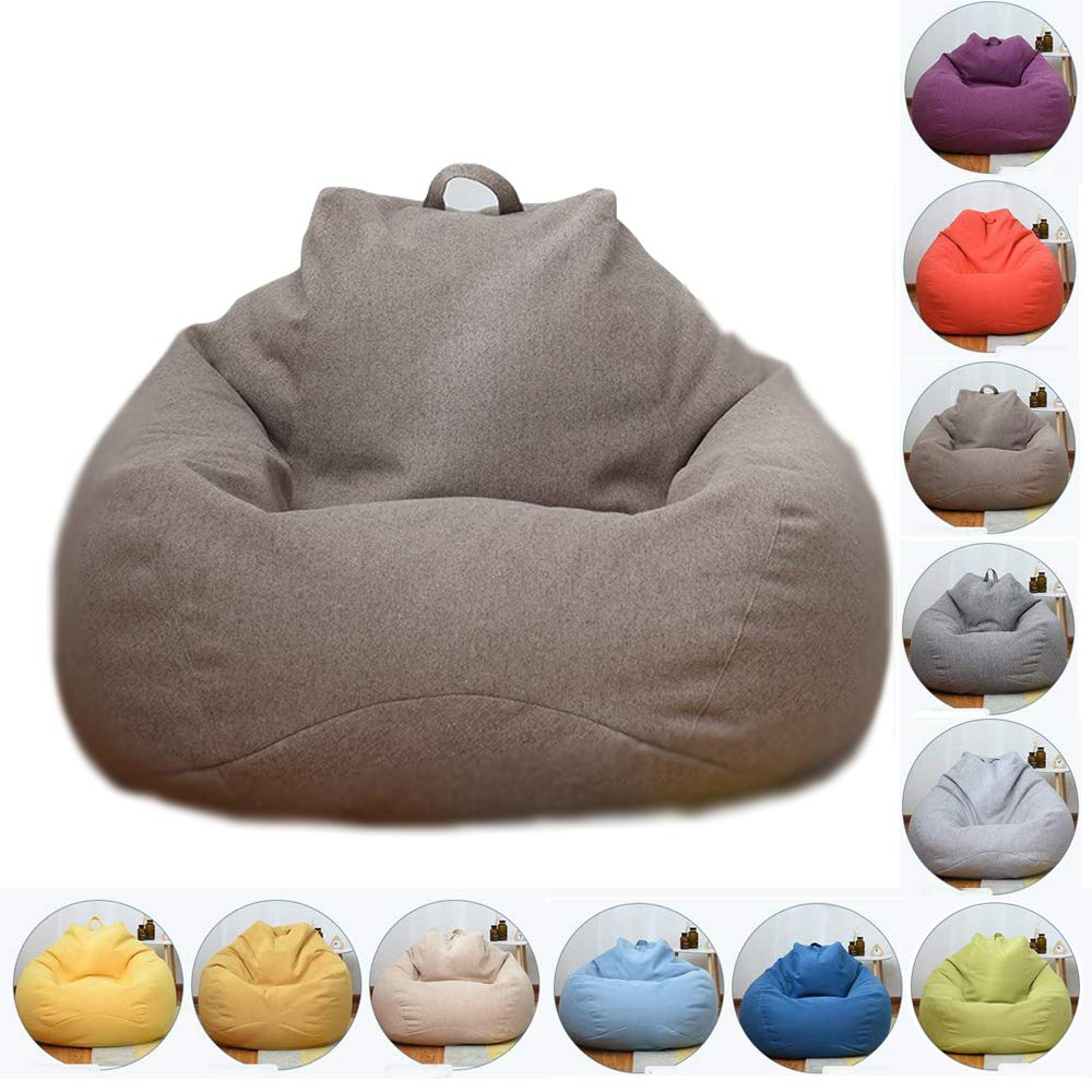 LinenBrown 8090cm Bean Bag Chair, Natural Cotton Linen Fabrics Beanbag Seat Chair with Removable Washable, for Outdoor Garde Indoor Gamer,CornYellow,100  120cm