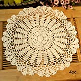 kilofly Crochet Cotton Lace Table Placemats Doilies Value Pack, 4pc, Daisy, Beige, 13.7 inch