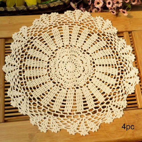 kilofly Crochet Cotton Lace Table Placemats Doilies Value Pack, 4pc, Daisy, Beige, 13.7 inch
