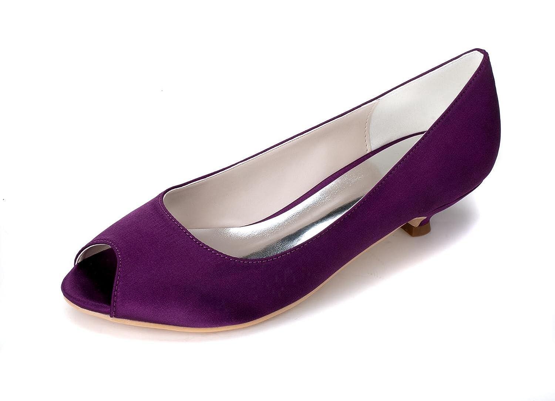 Elegant high schuhe Weibliche Hochzeitsschuhe Hochzeitsschuhe Hochzeitsschuhe # 0700-01 Fisch-Mund/Party/Seide/Kleidung Bequem Niedrig Elfenbein Weiß # Purple 5b33df