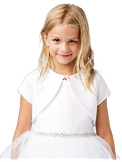 e1202ccbe Girl's White Satin Organza Short Sleeve First Communion Flower Girl Borelo Shrug  Jacket Size ...