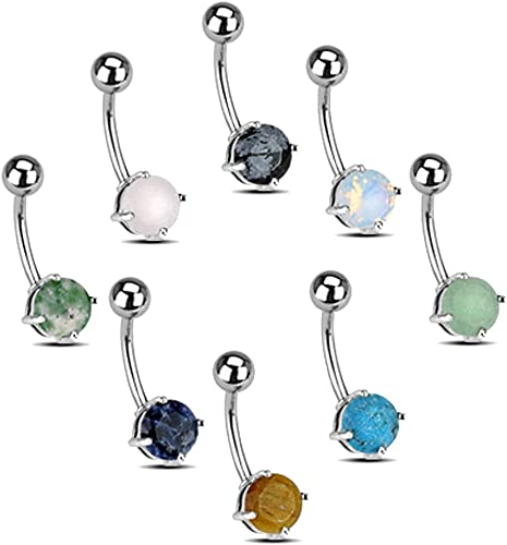 14 Gauge Snowflake Obsidian Belly Bar Obsidian Belly Ring Navel Post Surgical Steel 316L
