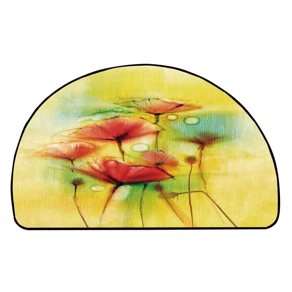 C COABALLA Watercolor Flower Home Decor Comfortable Semicircle Mat,Poppy Flowers Motif in Tones Spring Inspired Modern Picture for Living Room,11.8'' H x 23.6'' L