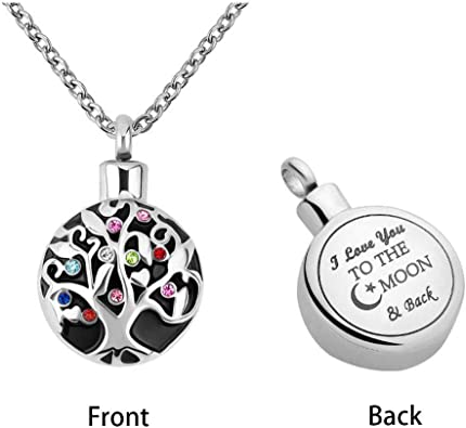 Sug Jasmin Moon and Star Ashes Necklace Urn Necklace Memorial Jewelry with Fill Kit