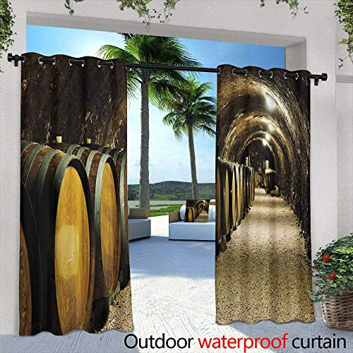 Lightly Fashions Drape,Old White Arch with a View of The Mountains and Lake Orange Wisteria Sunny Day Bright Rays,W108 x L84 Outdoor Curtain for Patio,Outdoor Patio Curtains