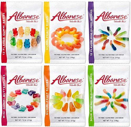 Albanese World's Best Gummi Candy Assorted - 6 Packs by Albanese Confectionery (Gummy Peach Sour)