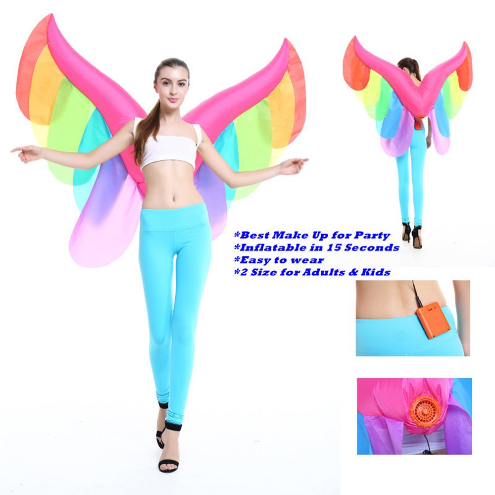 Inflatable Novelty Fairy Butterfly Rainbow Wings Halloween Costume Party Suit Fancy Dress by Qshine (Image #4)