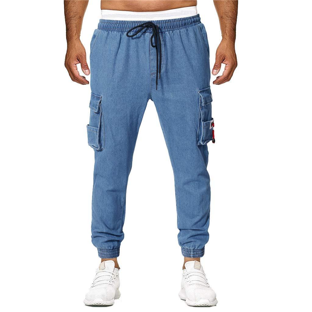 ZEFOTIM Pants for Men Fashion Casual Jeans Destroyed Denim Knee Length Hole Ripped Pants (Blue,Large)