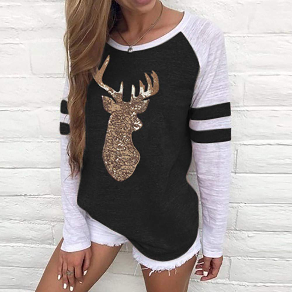 Christmas Pullover,Fashion Reindeer Printed Sequins Tops Xmas Party Long Sleeve T-Shirt Leewos New
