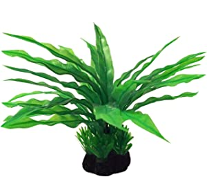 Long Leaf Java Fern - Plastic Artificial Plant to Enhance Your Aquascape - Fish Tank Aquarium Decor - Looks Realistic, Beautiful Green Leaves - No Maintenance Required - Ready to Install