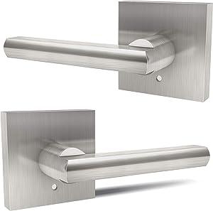 Door Handles, Ohuhu Satin Nickel Door Lever, Door Knob, Door Handle with Lock Modern Contemporary Slim Square Design for Home Bedroom or Bathroom Privacy