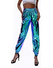 JUMISEE Women Metallic Jogger Pants Sweatpants Rave Holographic Tapered Dance Trousers