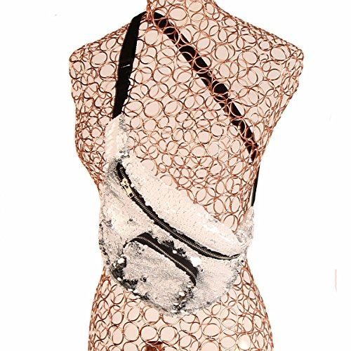 Sequins Bag Waist Sports For Shopping Yoga Backpack Packs Travel Shoulder Gym Women White Chest Sw1WTnpfpq