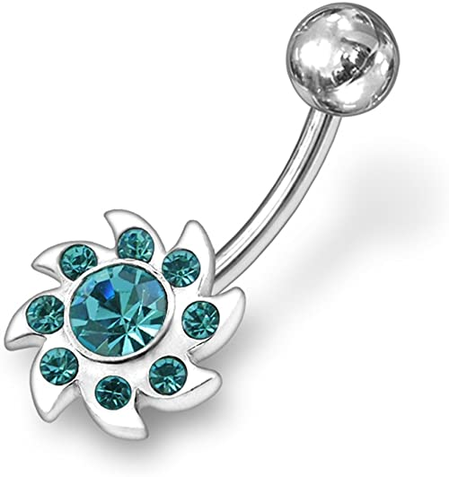 Fashion Multi Crystal Sun 925 Sterling Silver with Stainless Steel Belly Button Rings