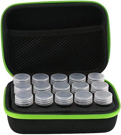 Prosperveil - Caja de bordado de diamante para accesorios de pintura de diamantes, caja de almacenamiento de cuentas, caja de herramientas de punto de cruz, organizador de joyas 15 Slots verde: Amazon.es: