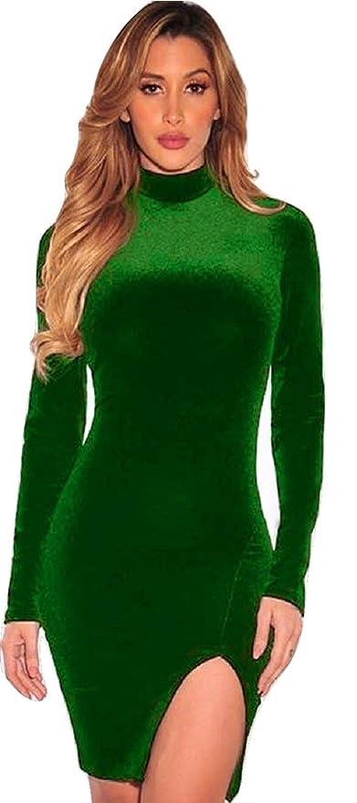 Nueva botella de la mujer hendidura en la parte delantera de terciopelo verde manga larga vestido