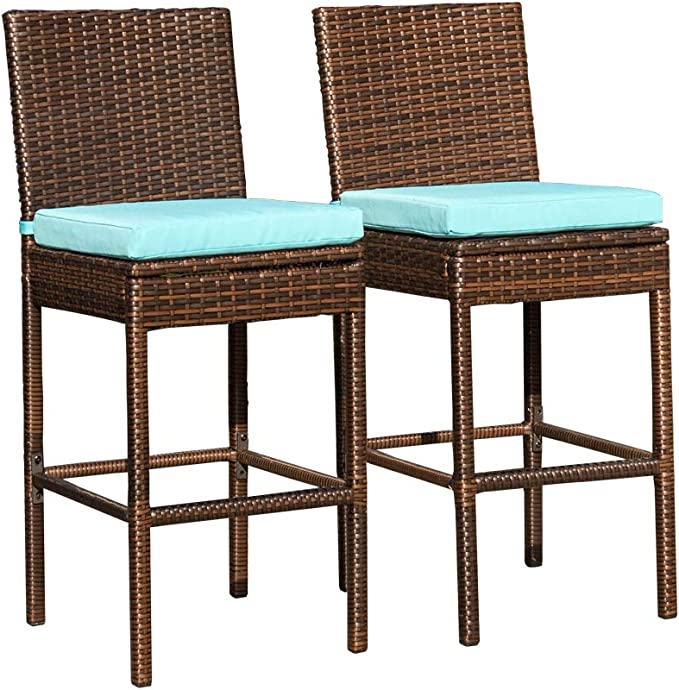 Sundale Outdoor Bar Stools Set Of 2 2 Piece Woven Wicker Bar Stools Patio Bar Chairs With Cushion Blue All Weather Outdoor Patio Furniture Aluminum Brown Kitchen Dining Amazon Com