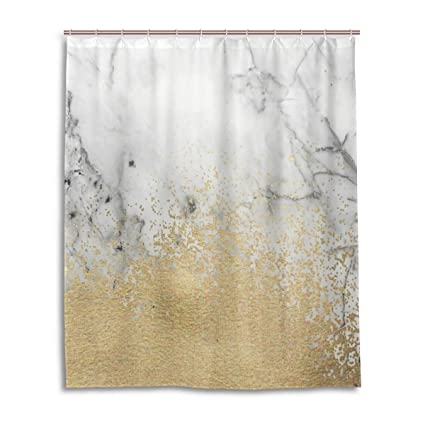 Bathroom Decor Shower Curtain Waterproof Fabric w//12 Hooks 71*71inch brown