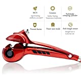 Hair Curler Curling Iron by Rejawece – Professional Salon Hair Styling Curling Wand with Automatic Steam Spray - Red