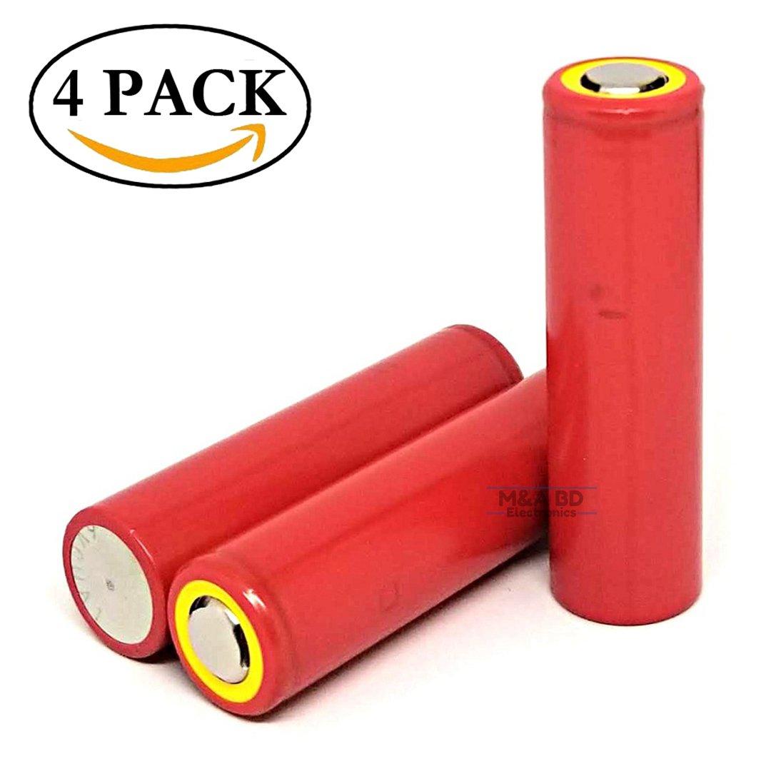 Panasonic Sanyo UR18650NSX High Drain Li-ion 3.7V 2600mAh 20A Rechargeable Flat Top Battery, (4 Pack) by M&A BD Electronics