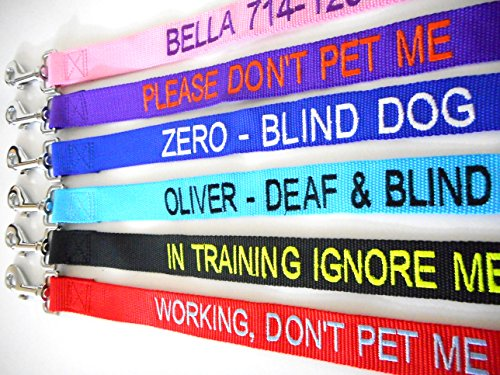 Mix Paws TM - Personalized Customized Embroidered Dog Name 6FT Nylon Leash, Lead For Dog, Pet, Puppy, Black, Red, Pink, Purple, Orange