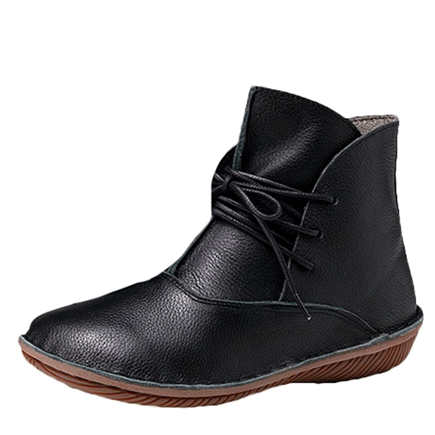 Mordenmiss Women's Leather Short Boots New Shoes Style 1 Black Fleece