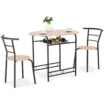 COSTWAY Küchenbar, 3tlg. Sitzgruppe Küche, Esstisch mit 2 Stühlen,  Balkonset Farbwahl (Natur)