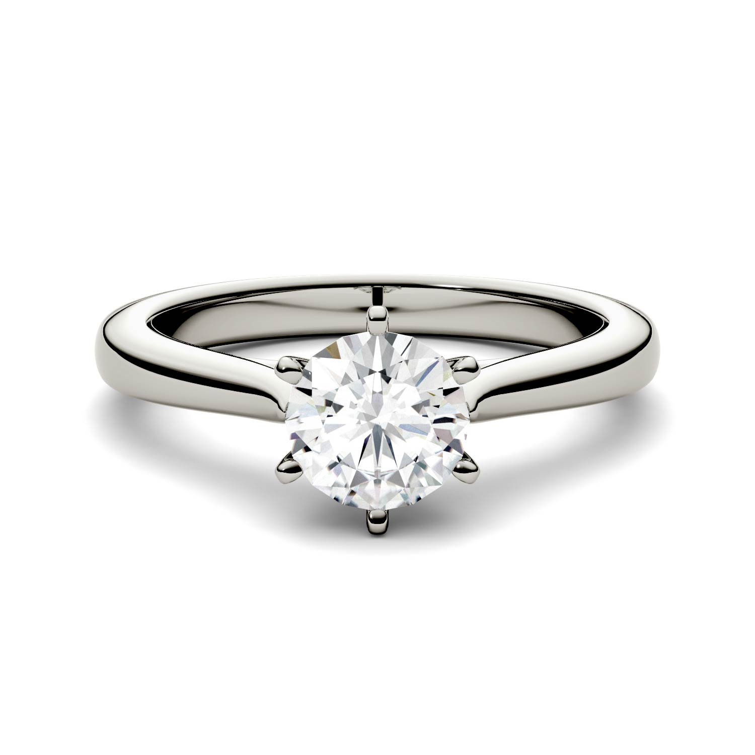 Forever One Round 5.0mm Moissanite Engagement Ring-size 6, 0.50ct DEW (G-H-I) By Charles & Colvard
