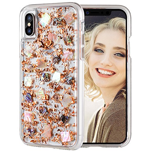 Price comparison product image Maxdara iPhone X Glitter Case, Glitter Shell Gold Foil Sparkle Luxury Bling Ultra Slim Protective TPU Bumper Silicone with Hard Back Durable 2 in 1 Pretty Fashion Design Girls Case for iPhone X (Gold)