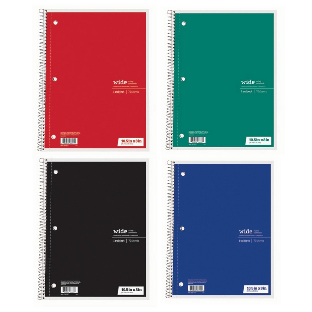 Office Depot Wide Ruled Spiral Notebooks, Set of 4 Wide Ruled Notebooks, 70 sheets, 1 Subject, 10.5'' x 8'' - Red, Green, Blue, Black