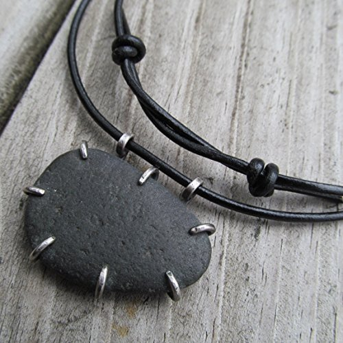 Mens Black Beach Stone Necklace Silver on Leather- Diana Anton Jewelry Design (Matte Beach Pebble)