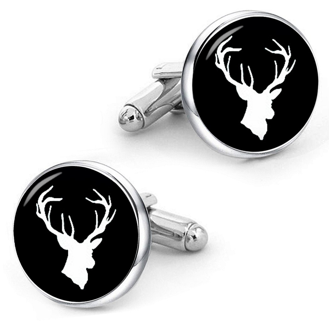 Kooer Deer Head Cufflinks Vintage Handmade Stag Cufflinks Custom Personalized Cuff Links Deer Jewelry UK_B077HCVMF4