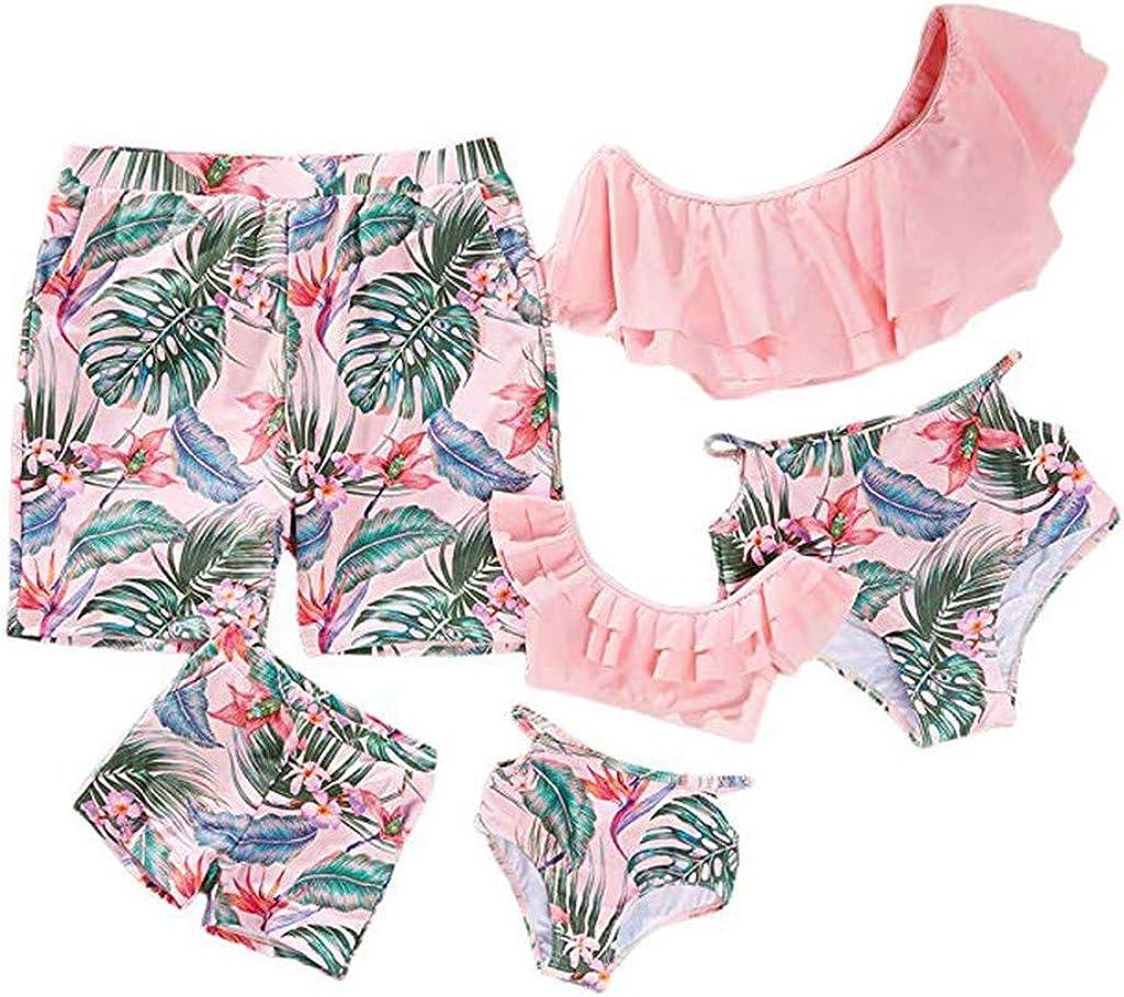 Outique Mommy&Me Bathing Suits,Women Family Bathing Bikini Leaf Print Swimwear Swimsuit Summer High Waisted Set