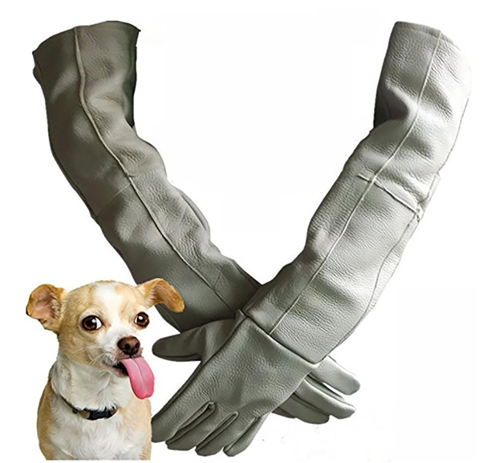 DAN Pet Anti-Bite Gloves Anti-Catch Bite Anti-Puncture Tear-Resistant Stray Dog Hamster Small Animals Bath/Injections/Shearing/Digging Ears/Cut Nails Lengthen Thickening Cowhide Gray